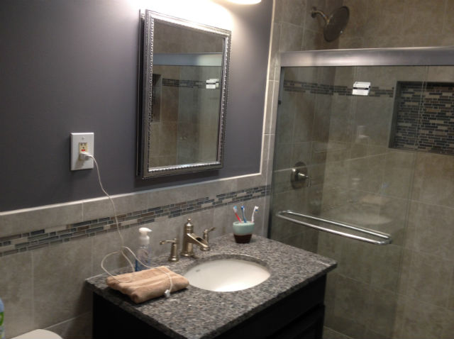 The Basic Bathroom Co. - remodeled full bathroom with shower - complete - Iselin, NJ - March 2015