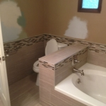 The Basic Bathroom Co. - remodeled full bathroom with bathtub and shower - in progress - September 2014