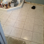 The Basic Bathroom Co. - remodeled full bathroom with shower - in progress - Edison, NJ - February 2015