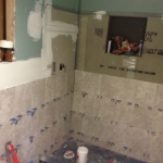 The Basic Bathroom Co. - remodeled full bathroom with shower - in progress - Iselin, NJ - March 2015