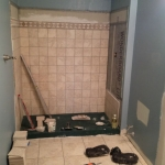 The Basic Bathroom Co. - remodeled full bathroom with shower - in progress - New Hope, PA - April 2015