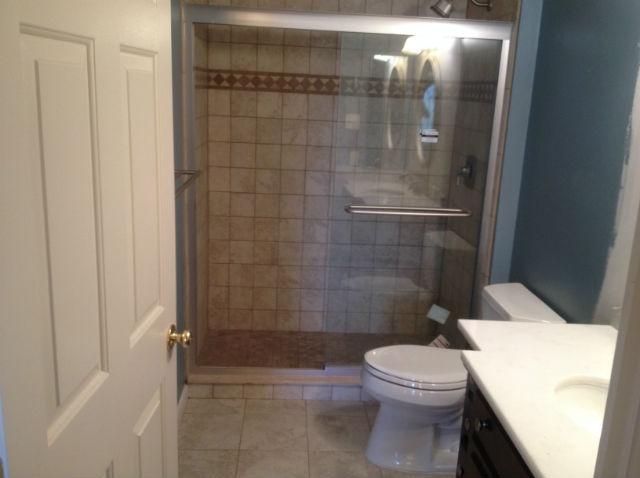 The Basic Bathroom Co. - remodeled full bathroom with shower - complete - New Hope, PA - April 2015