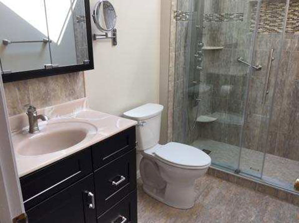 The Basic Bathroom Co. - remodeled full and half bathroom with custom tile stall shower - complete - Brick, NJ - September 2017