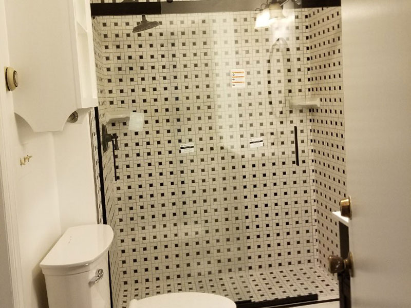 The Basic Bathroom Co. - remodeled full bathroom with custom tile stall shower - complete - Titusville, NJ - March 2018